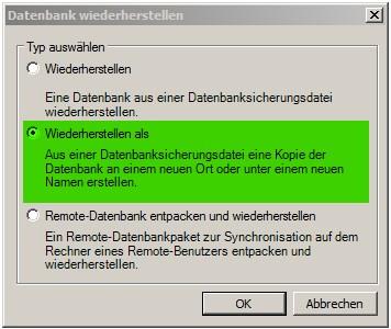 Backup einspielen 2