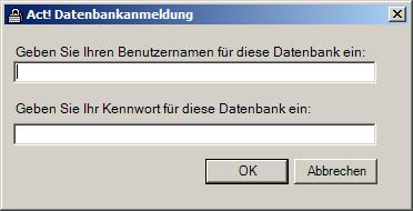 ActDiag Datenbankanmeldung